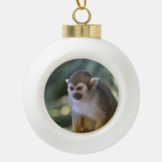 Amazing Squirrel Monkey Ceramic Ball Christmas Ornament