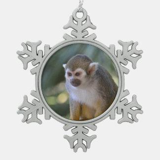 Amazing Squirrel Monkey Snowflake Pewter Christmas Ornament