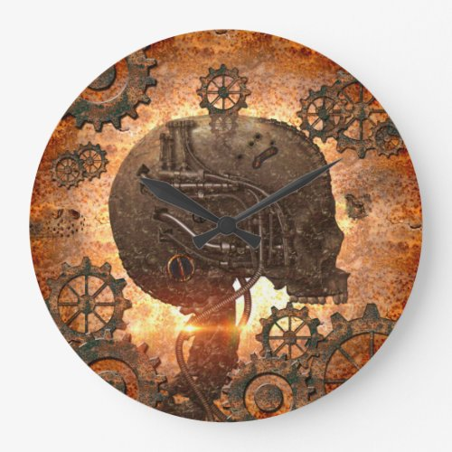 Amazing steampunk Skull with gears Clock
