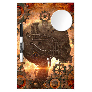 Amazing steampunk Skull with gears Dry Erase Board With Mirror