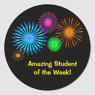Amazing Student of the Week Classic Round Sticker