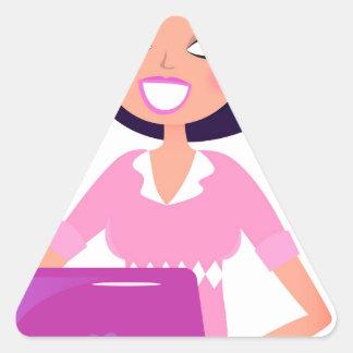 Amazing stylish Lady with Computer purple Triangle Sticker