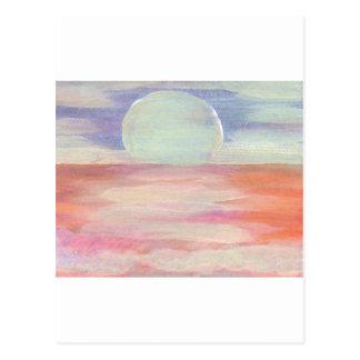 Amazing Sun pastel pink blue seascape sunrise Postcard