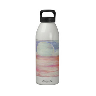 Amazing Sun pastel pink blue seascape sunrise Reusable Water Bottles