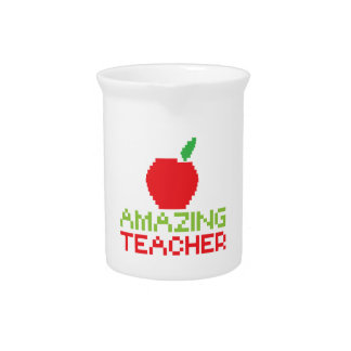 AMAZING TEACHER with digital apple Beverage Pitchers