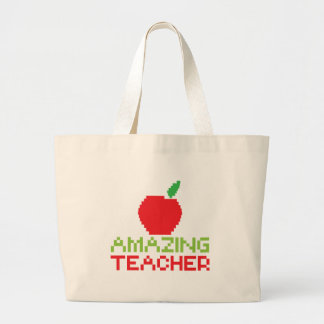 AMAZING TEACHER with digital apple Large Tote Bag