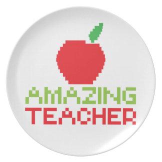 AMAZING TEACHER with digital apple Melamine Plate