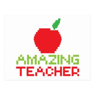 AMAZING TEACHER with digital apple Postcard