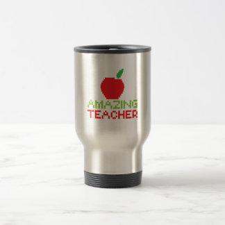 AMAZING TEACHER with digital apple Travel Mug