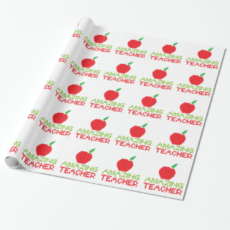 AMAZING TEACHER with digital apple Wrapping Paper