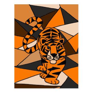 Amazing Tiger Abstract Art Design Postcard