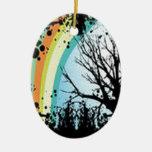Amazing tree flower and raibow design ornament