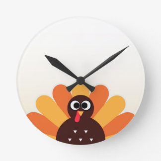 Amazing turkey in brown, yellow round clock
