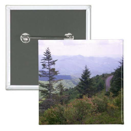 Amazing View Of Winding Blue Ridge Parkway Buttons