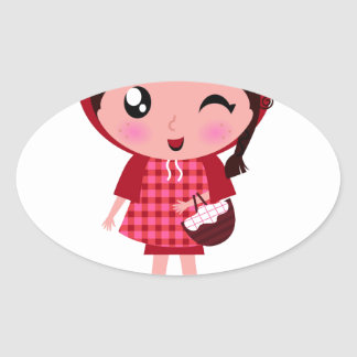 AMAZING VINTAGE RED RIDING HOOD GIRL OVAL STICKER