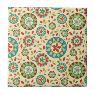 Amazing Vintage Retro Floral Abstract Tile