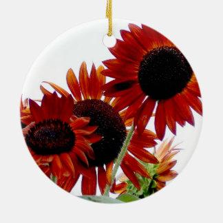 Amazing Vivid Red Autumn Beauty Sunflowers Christmas Tree Ornament