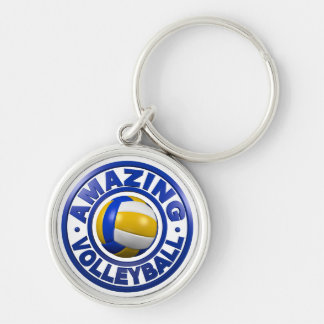 Amazing Volleyball Silver-Colored Round Keychain