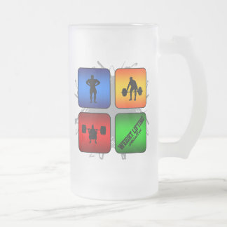 Amazing Weight Lifting Urban Style Frosted Glass Beer Mug