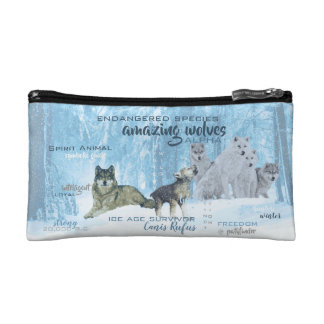 Amazing Wolves Typography   Personalized Cosmetic Bag