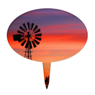 Amazingly Colorful Dawn Sunrise Windmill Cake Toppers