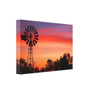 Amazingly Colorful Dawn Sunrise Windmill Canvas