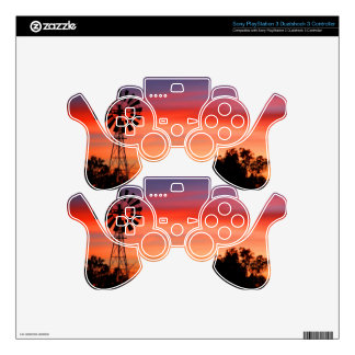 Amazingly Colorful Dawn Sunrise Windmill Skins For PS3 Controllers
