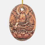 Amazingly Detailed Copper Buddha Double-Sided Oval Ceramic Christmas Ornament