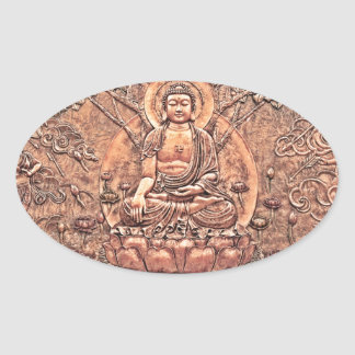 Amazingly Detailed Copper Buddha Oval Sticker