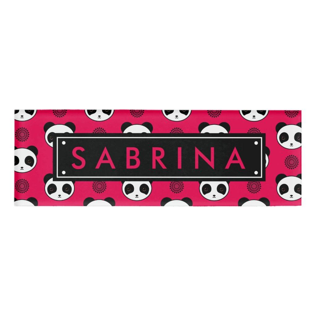 Amazingly Kawaii Panda Mandala Pattern Name Tag