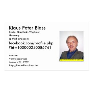 Amazon.de, Klaus Peter Blass, Cologne, North Rhine Double-Sided Standard Business Cards (Pack Of 100)