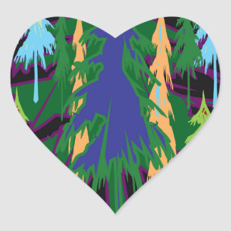 Amazon Dense Forest Trees Abstract Art on Gifts Heart Sticker