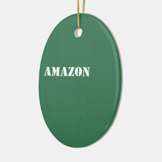 Amazon Double-Sided Oval Ceramic Christmas Ornament