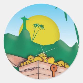 Amazon Gold Round Stickers
