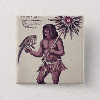 Amazon Indian, engraved by Theodore de Bry Button