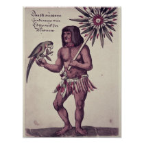 Amazon Indian, engraved by Theodore de Bry Poster