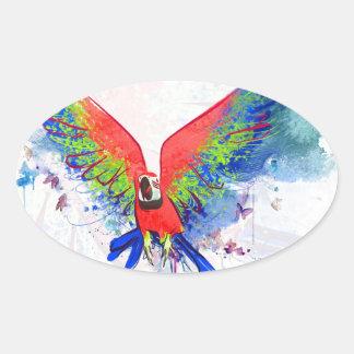 Amazon Parrot Macaw Oval Sticker
