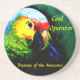 Amazon,parrot,tropical,beach,island Sandstone Coaster