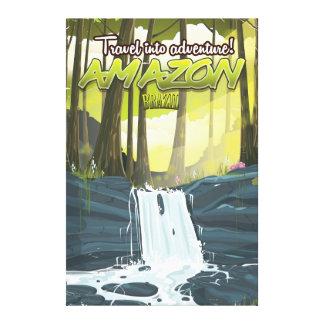 Amazon rainforest cartoon travel poster canvas print