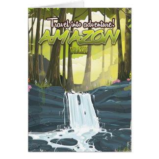 Amazon rainforest cartoon travel poster card