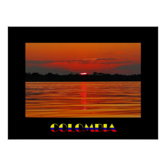 Amazon River Sunset Travel Poster