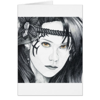 Amazon Warrior (face) - Blank Greetings Card
