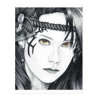 Amazon Warrior (face) - Blank Postcard