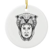 Amazon Warrior Jaguar Headdress Tattoo Ceramic Ornament