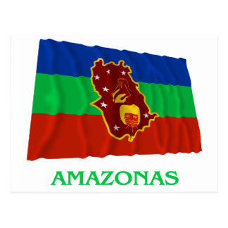 Amazonas Waving Flag with Name Postcard