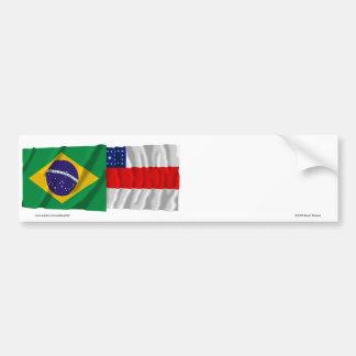Amazonas y banderas que agitan del Brasil Pegatina Para Auto