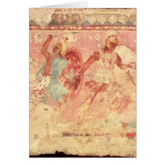 Amazons fighting a Greek warrior Greeting Card
