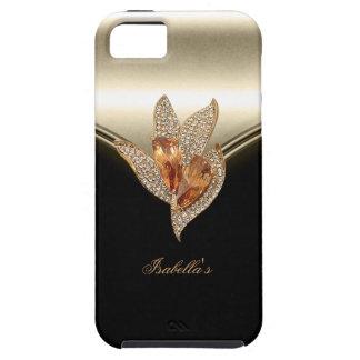 ámbar beige del oro del caramelo elegante negro iPhone 5 funda