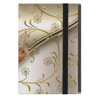 Ámbar beige del oro del damasco de la crema elegan iPad mini coberturas