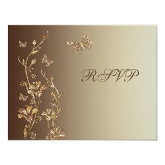 """Ámbar, Brown floral con la tarjeta de contestación Invitación 4.25"""" X 5.5"""""""